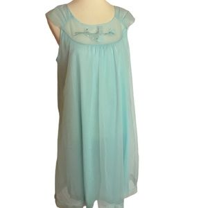 Vintage 60s turquoise night gown